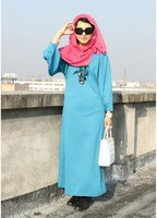 2013 Free Shipping Women Long Lantern Sleeve Muslim Clothing Gown Blue WD12111901