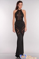 Sexy Dress 2013 New Long Mesh Cut Out Maxi Evening Dresses - Black or Red wholesale drop shipping, free fast shipping HL5073
