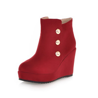 2013 autumn fashion rivet boots wedges martin boots ultra high heels round toe side zipper boots