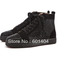 2013 Free Shipping Red Bottom Rollerboy Black Crystal Flats Spikes Sneakers Lace Up High Top bigbang Leather Sneakers