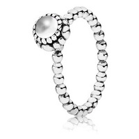 925 Sterling Silver Birthday Bloom Stackable Ring with Clear Quartz