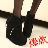 New female Autumn fashion slope-outsole boots, lady's stylish thin ankle boots, women's casual fashion shoes.