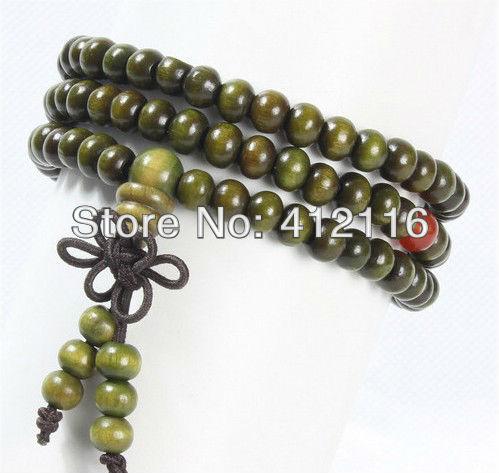 Preço de fábrica por atacado jóias grátis frete 6 mm verde sândalo budista tibetano oração Mala perla braceletes misturar estilos(China (Mainland))