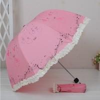 New design cute Anti-UV foldable super love cartoon sun umbrella rain umbrella free shipping