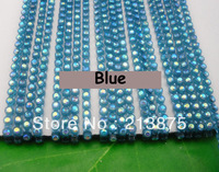 Free shipping 10Yard SS6 2mm B Grade AB Crystal glass Rhinestones Banding Trim Blue Plastic chain bottom Wedding dresses