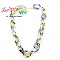 2013 New Fashion Design CCB Light Material Chain Link Necklace Mixed Color Punk Lady Jewelry For Women Free Shipping
