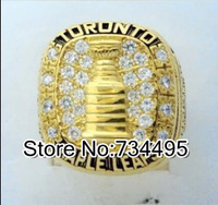Free shipping! Replica 18k gold plated Tim Horton Toronto Maple Leafs Stanley Cup championship ring for gift.