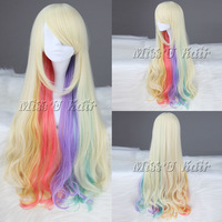 Cheap and best quality 80cm multi color curly lolita wig Anime cosplay wig free shipping free wig cap