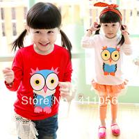 2013 autumn children's clothing cartoon owl print child baby female child long-sleeve T-shirt 5743