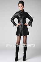 Free shipping  The European GOLEVI fall 2013 new ladies fashion splicing fringed leather windbreaker sleeve
