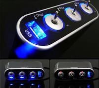 3 Way Auto Car Cigarette Lighter Socket Splitter 12V Charger Power Adapter Plug DC 12V USB LED light Control Safe Energy Saving