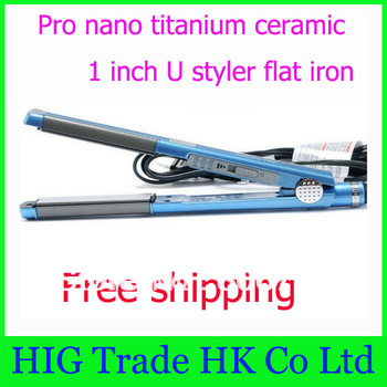 "Free Shipping by China post!! 2pcs/lot PRO Nano Titanium 1"" U Styler Sol-Gel Straightening iron/Flat iron hair straightener #U62"