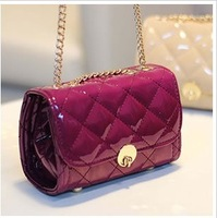 2013 candy color small women's handbag the trend of fashion japanned leather dimond plaid mini chain of packet one shoulder