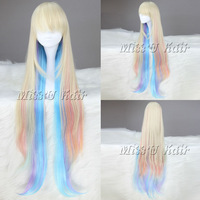 Cheap and best quality 105cm multi color long straiht lolita wig Anime cosplay wig free shipping free wig cap