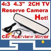 """4.3"""" TFT LCD Monitors Digital Car Rear view Color Camera  Monior,TV Signal input,free shipping car Monitor mirror image support"""