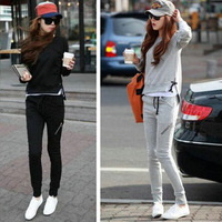 2013 plus size sweatshirt female set thin spring and autumn women's long-sleeve casual sportswear set