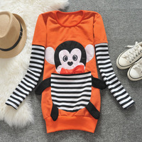 New ! 2013 K-06  autumn female stripe large pocket three-dimensional cartoon thin sweatshirt outerwear  Free shipping  q4207