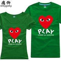 100% T-shirt short-sleeve cotton shirt plus size plus size lovers cdg play of chuanmingshen kubo