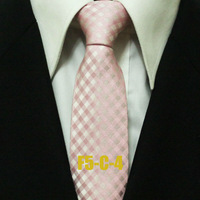 Mens Skinny Ties For Men Pink With White Check Novelty Neckties Korea Style Men F5-C-4