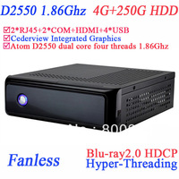 fanless tiny pc windows 7 with Dual Nic 2 COM HDMI Cederview blu-ray2.0 HDCP Hyper-Threading ICH10-R intel D2550 4G RAM 250G HDD