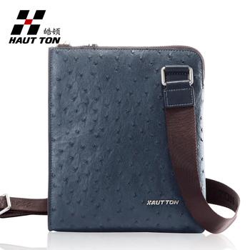 Fine man bag ostrich grain fashion casual shoulder bag commercial male messenger bag
