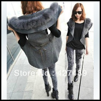 Western style new fashion women's fur coat belt sleeveless shawl vest for spring and winter H09
