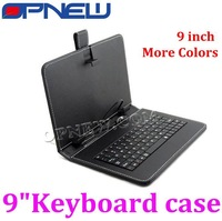 Freeshipping 9inch Keyboard case for Tablet PC leather case 9 with USB port and micro USB port