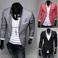 Free Shipping Men suit Slim Fit blazer coat jackets Shirt Stylish Cotton Solid 3 Colors 4 Sizes