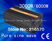 Best quality!!dc 12v/24v/48v to ac 100v-120v/220v-240v 3000w/3kw ,peak 6000w pure sine wave solar inverter(CTP-3000W)