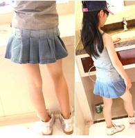 summer female child preppy style pleated denim short skirt tp