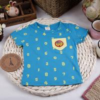summer male child smiley shield pocket short-sleeve t-shirt digital