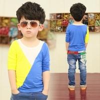 autumn fashion colorant match male child long-sleeve T-shirt