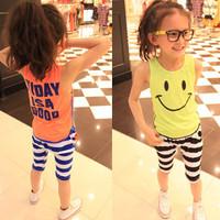 summer smiley letter stripe knee-length pants vest set