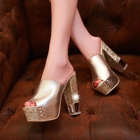 Quality patent leather pack open toe bling thick high-heeled platform 2013 women's shoes gold white slippers sandals