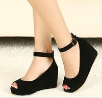Free shipping 2013 Fashion hasp velvet open toe wedges single shoes 833 - 3 PPXX
