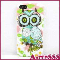 Case For iPhone 5 5S 2013 New Cute Big Eyes Owl With Pink Flower TPU Gel Silicone Case For Apple Iphone 5 5s Cases