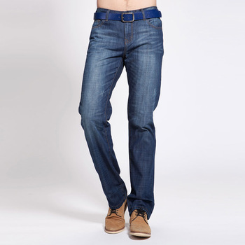 Summer TONLION male whisker straight denim trousers n380