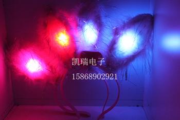 Flash 0212 plush rabbit fur ears headband luminous rabbit ears hair accessory yiwu commodity