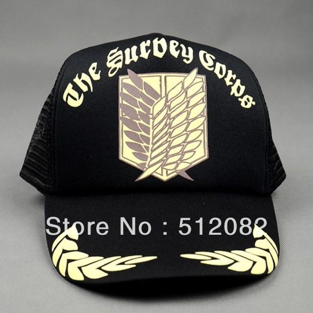 Attack On Titan Freedom Wing The Survey Corps Baseball Hat Black Cap Suncap Anime Cosplay Free Shipping(China (Mainland))