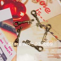 50pcs/lot Antique Bronze Lovely Keys Pendant Jewelry Findings 9*35mm Vintage Metal Key Pendant Jewelry