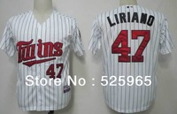 Wholesale Cheap Baseball Jerseys Men's Minnesota Twins 47 Liriano Grey Dark Blue Cream White(blue strip) Cool Base Throwback