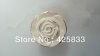 10pcs White Rose Zinc Alloy Cabinet Knobs Kitchen Handle Drawer Pulls Ceramic Knobs White Drawer Pulls Cabinet Handle Wardrobe