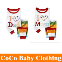 1Sets/lot new 2013 100% Cotton Brand Children pajamas i love dad I love Mon kids set of winter pajamas Free shipping