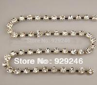 free shipping 1 yard 8mm clear crystal rhinestone chain trims flatback silver plating  DIY collar phone case clothing decoration