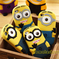 Cutie Cartoon 3D Despicable Me 2 Minions Henchmen Soft Silicone Rubber Smile Case Cover For iPhone 4 4S 4G 5 5S P2 free shipping