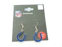 Licensed Indianapolis Colts Logo J-Hook Dangle Earrings NEW Silver Tone/ wholesale