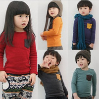 5pcs/lot Children's clothing for 2013 autumn baby girls boys fashion t shirt kids tops candy color pocket t shirts Tees wear
