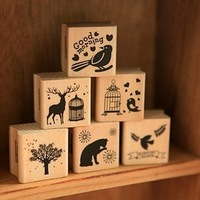Min odrer is $5 ( Mix oder )free shipping 1 Peice only DIY Lovely Wooden Stamp Forest Stamp set 6 designs SS82