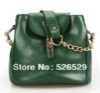 Free Shipping women's green genuine leather handbags chain cowhide shoulder bag girls designers British style messenger bags