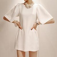 New Women's silk slim  elegant one-piece dress puff sleeve 6058